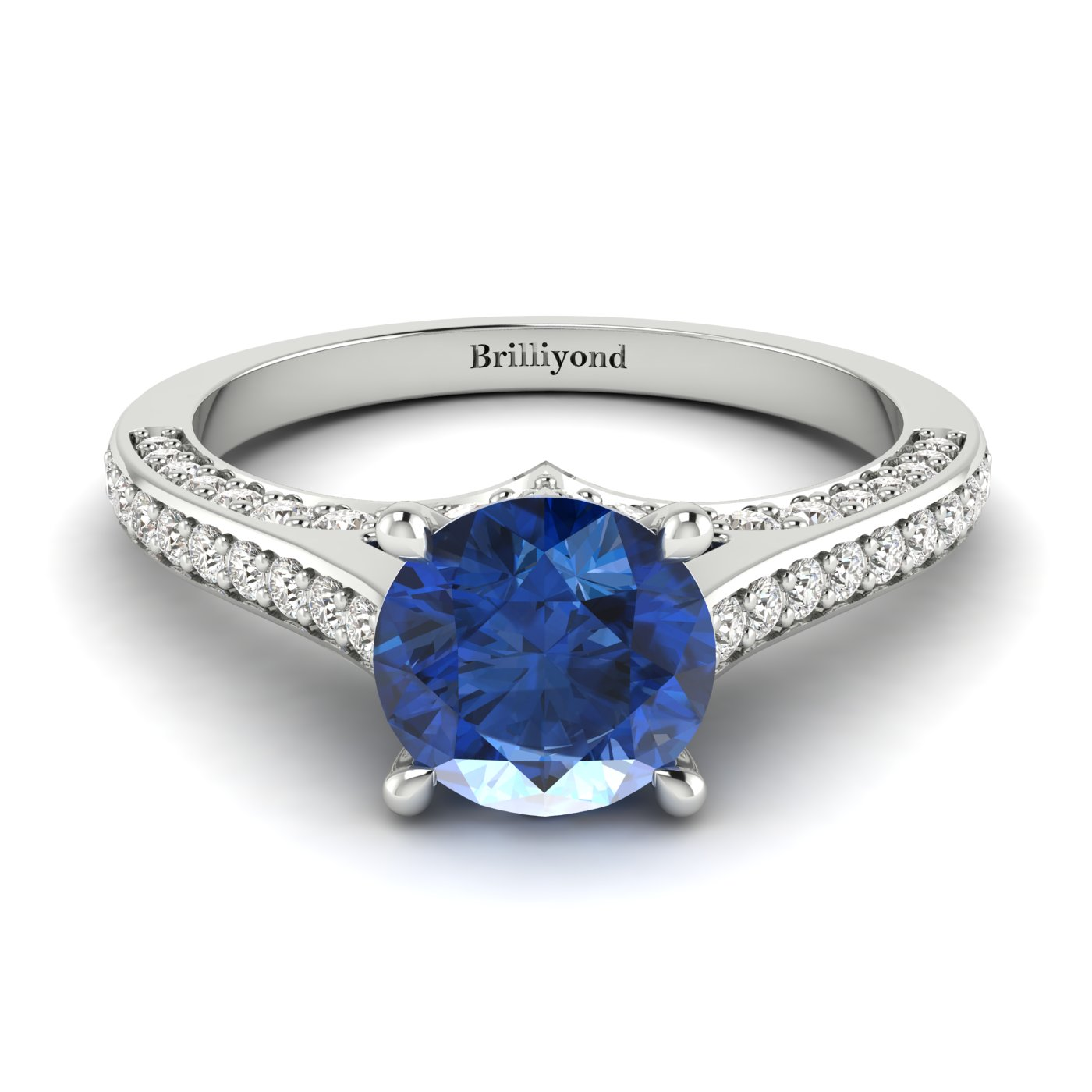 Blue Sapphire White Gold Brilliant Cut Engagement Ring Stargate_image2