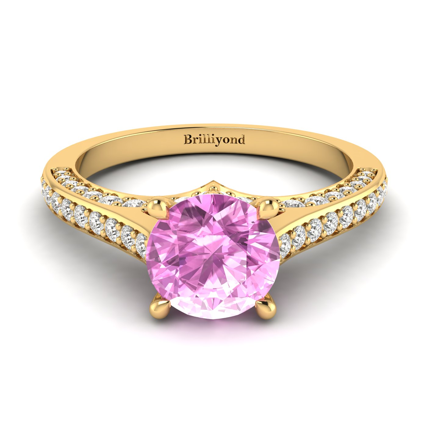 Pink Sapphire Yellow Gold Brilliant Cut Engagement Ring Stargate_image1