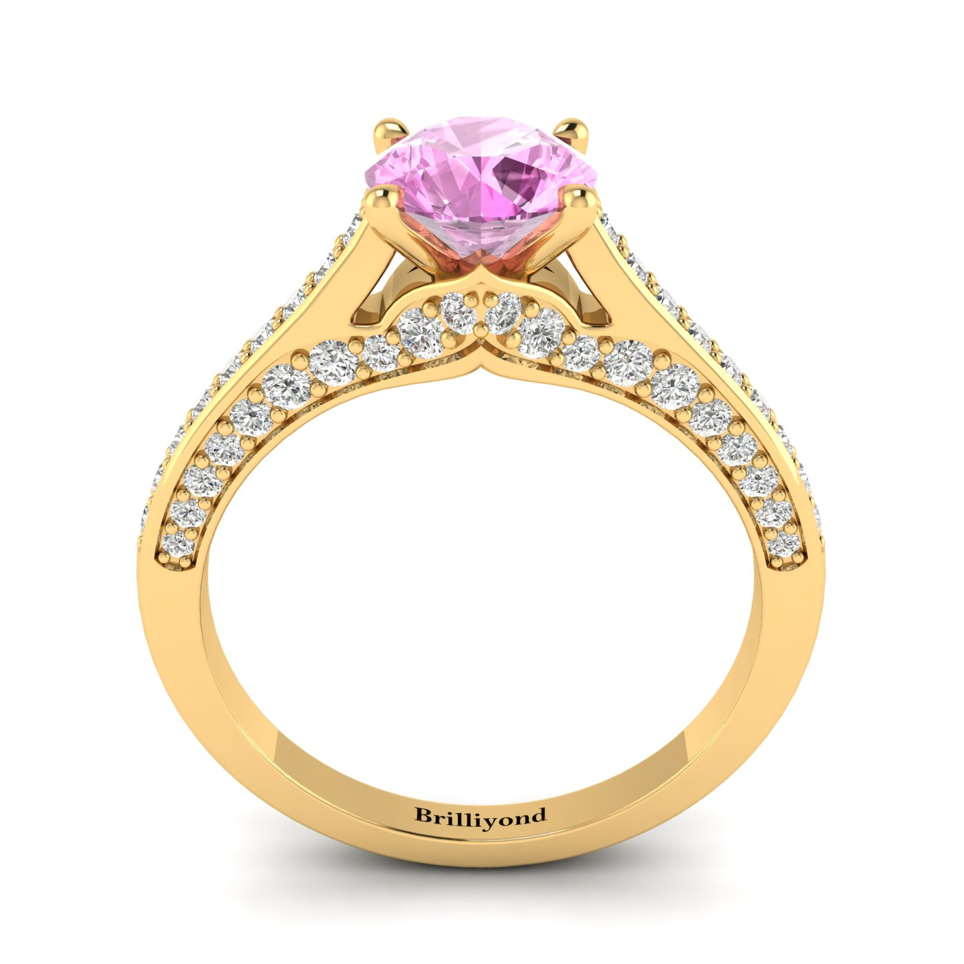 Pink Sapphire Yellow Gold Brilliant Cut Engagement Ring Stargate_image2