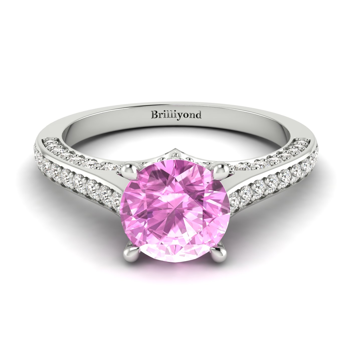 Pink Sapphire White Gold Brilliant Cut Engagement Ring Stargate_image1