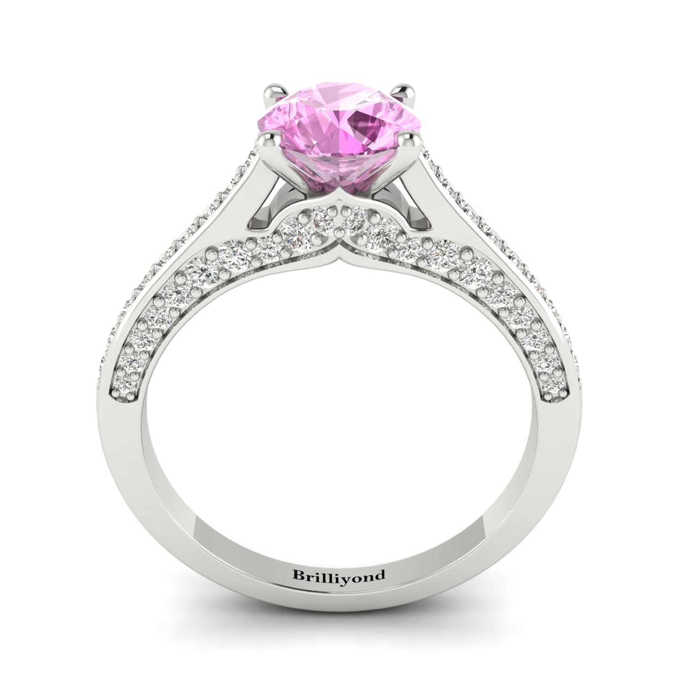 Pink Sapphire White Gold Brilliant Cut Engagement Ring Stargate_image2