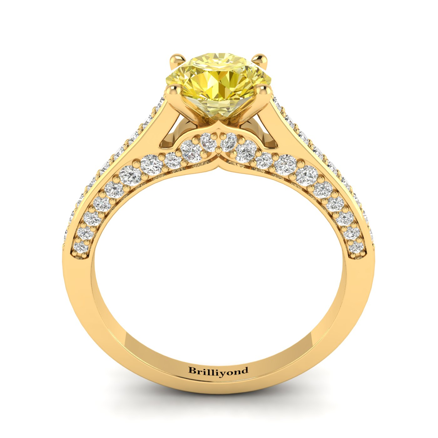 Yellow Sapphire Yellow Gold Brilliant Cut Engagement Ring Stargate_image1