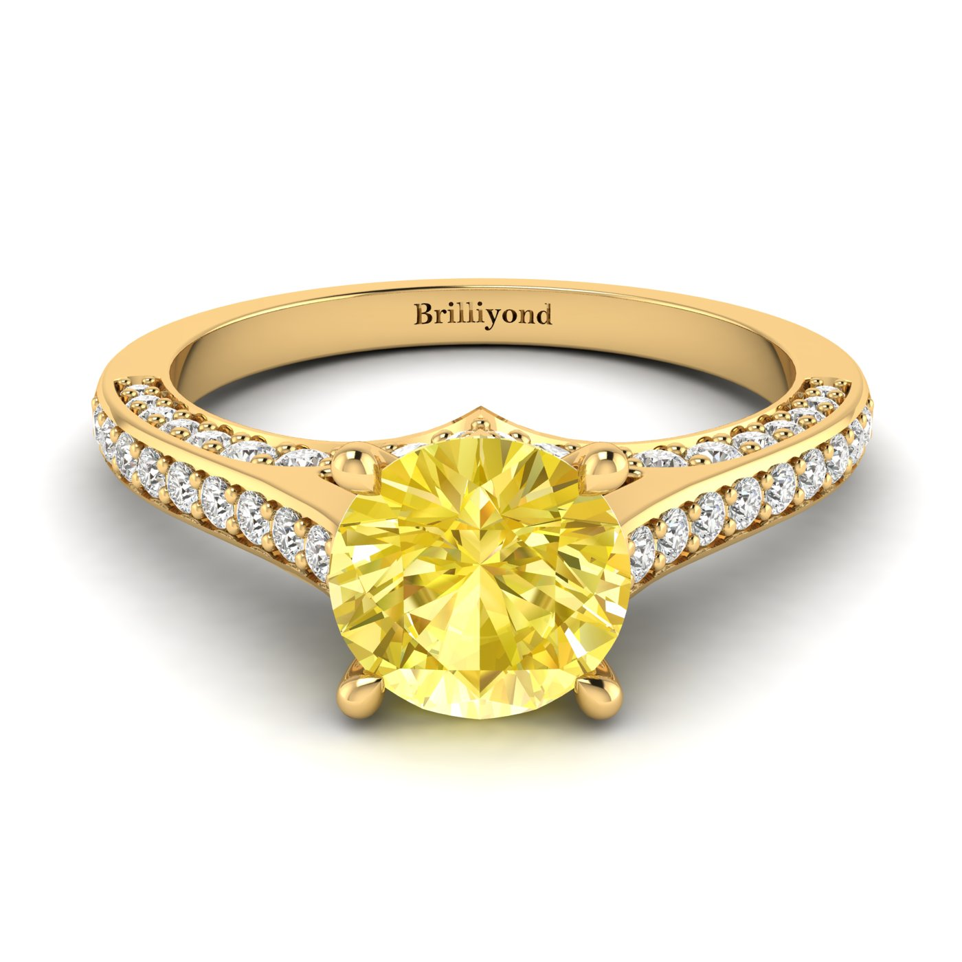 Yellow Sapphire Yellow Gold Brilliant Cut Engagement Ring Stargate_image2