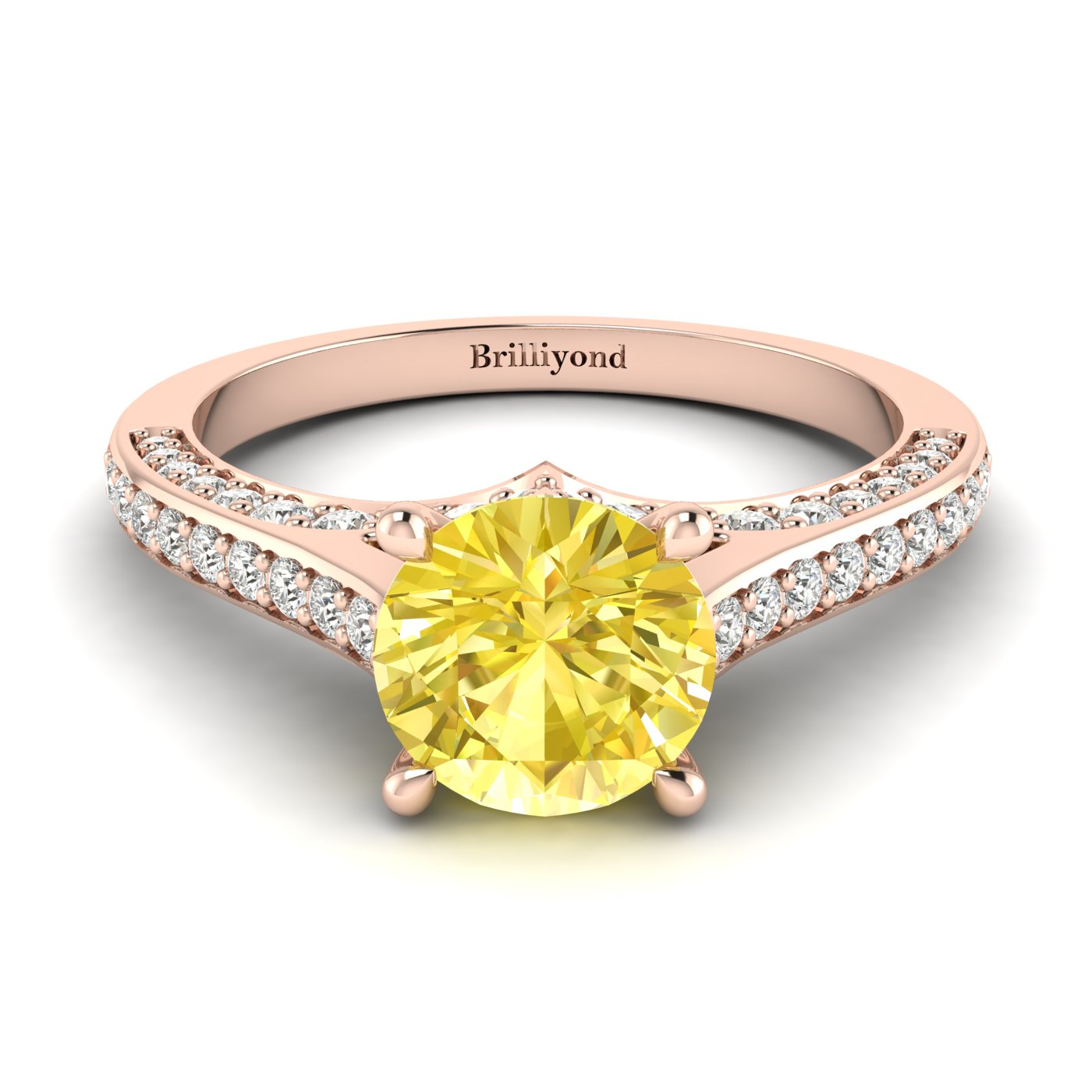 Yellow Sapphire Rose Gold Brilliant Cut Engagement Ring Stargate_image1