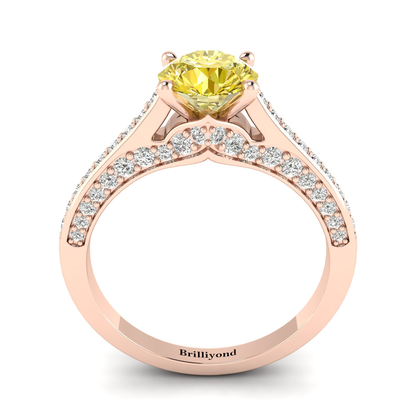 Yellow Sapphire Rose Gold Brilliant Cut Engagement Ring Stargate_image2