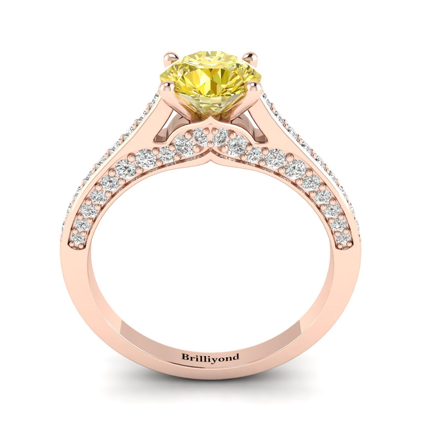 Yellow Sapphire Rose Gold Brilliant Cut Engagement Ring Stargate