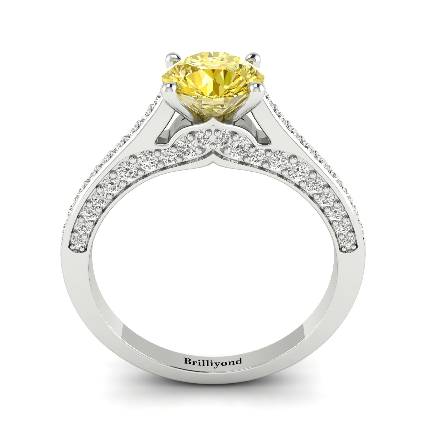 Yellow Sapphire White Gold Brilliant Cut Engagement Ring Stargate_image1