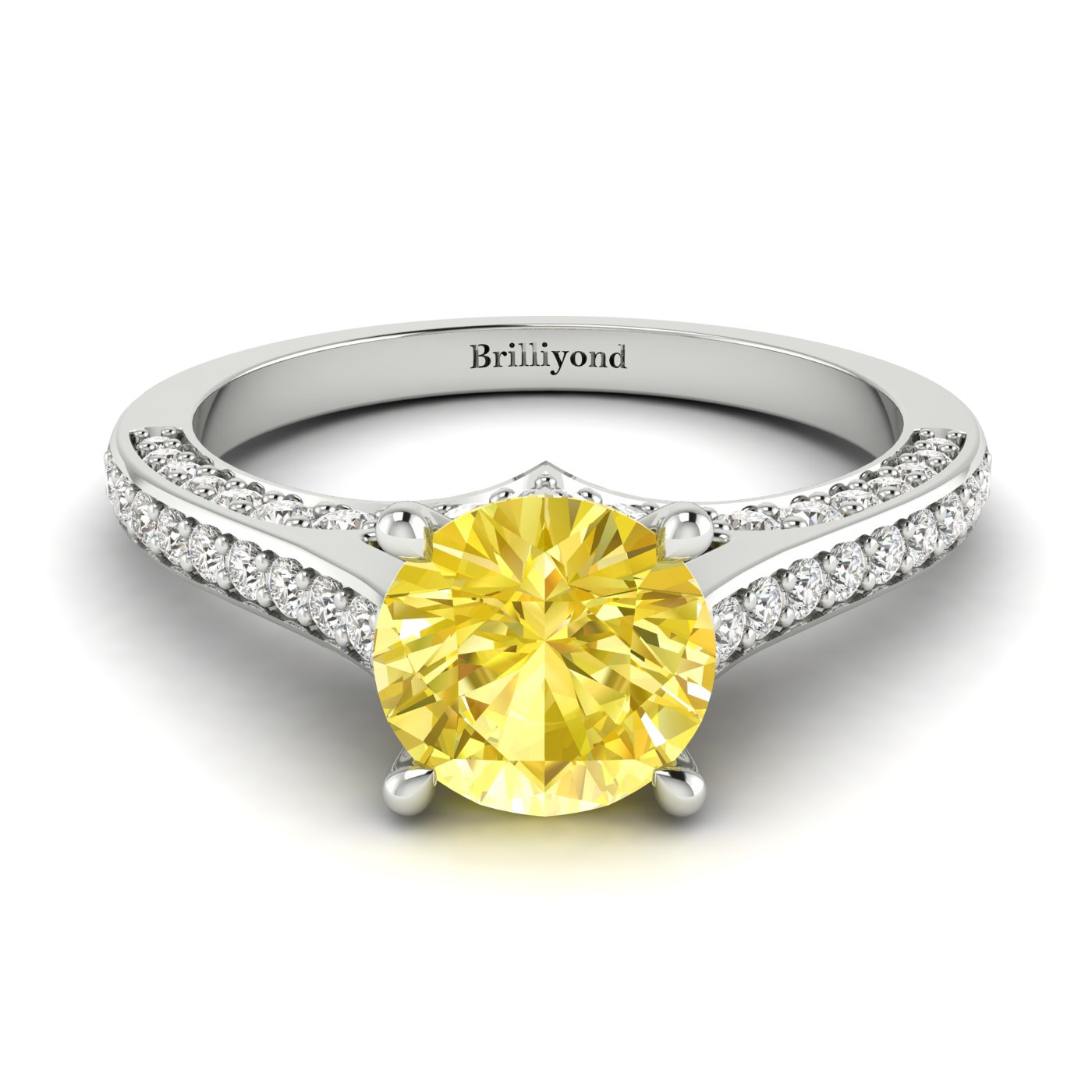 Yellow Sapphire White Gold Brilliant Cut Engagement Ring Stargate_image2