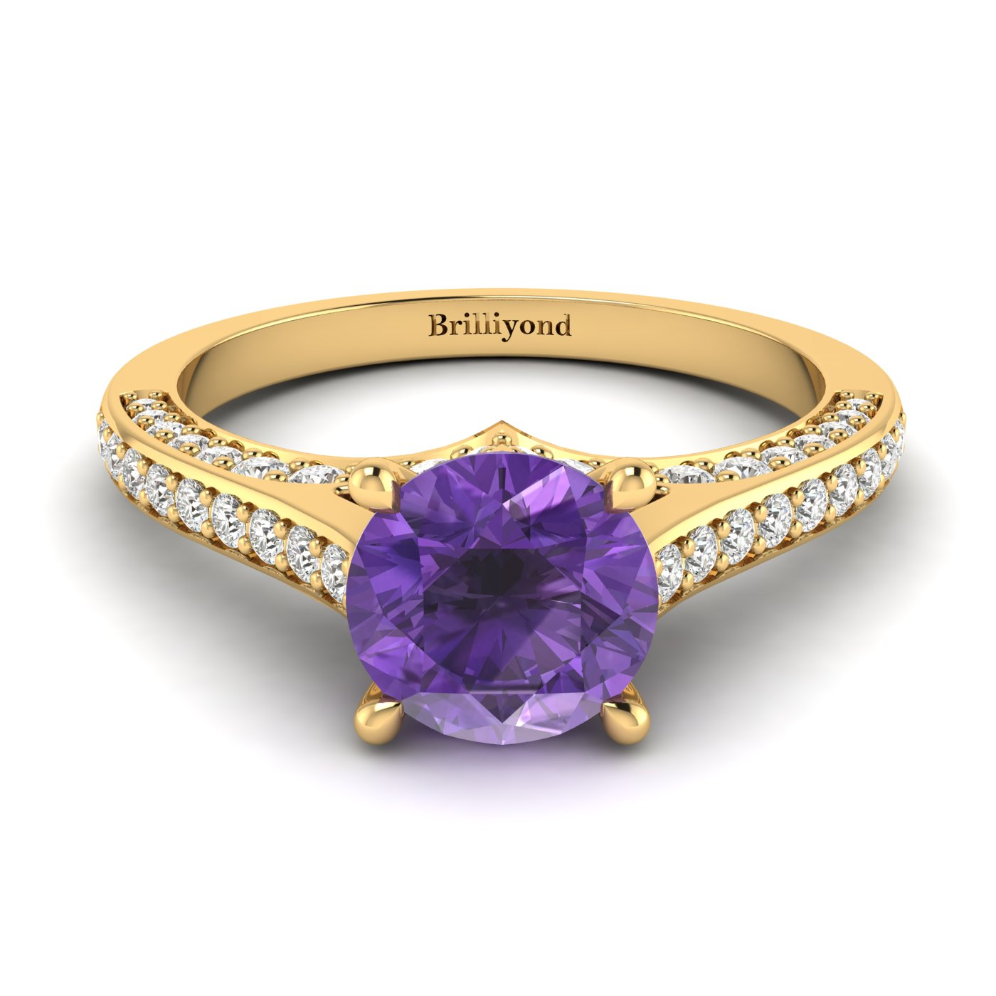 Amethyst Yellow Gold Brilliant Cut Engagement Ring Stargate_image1