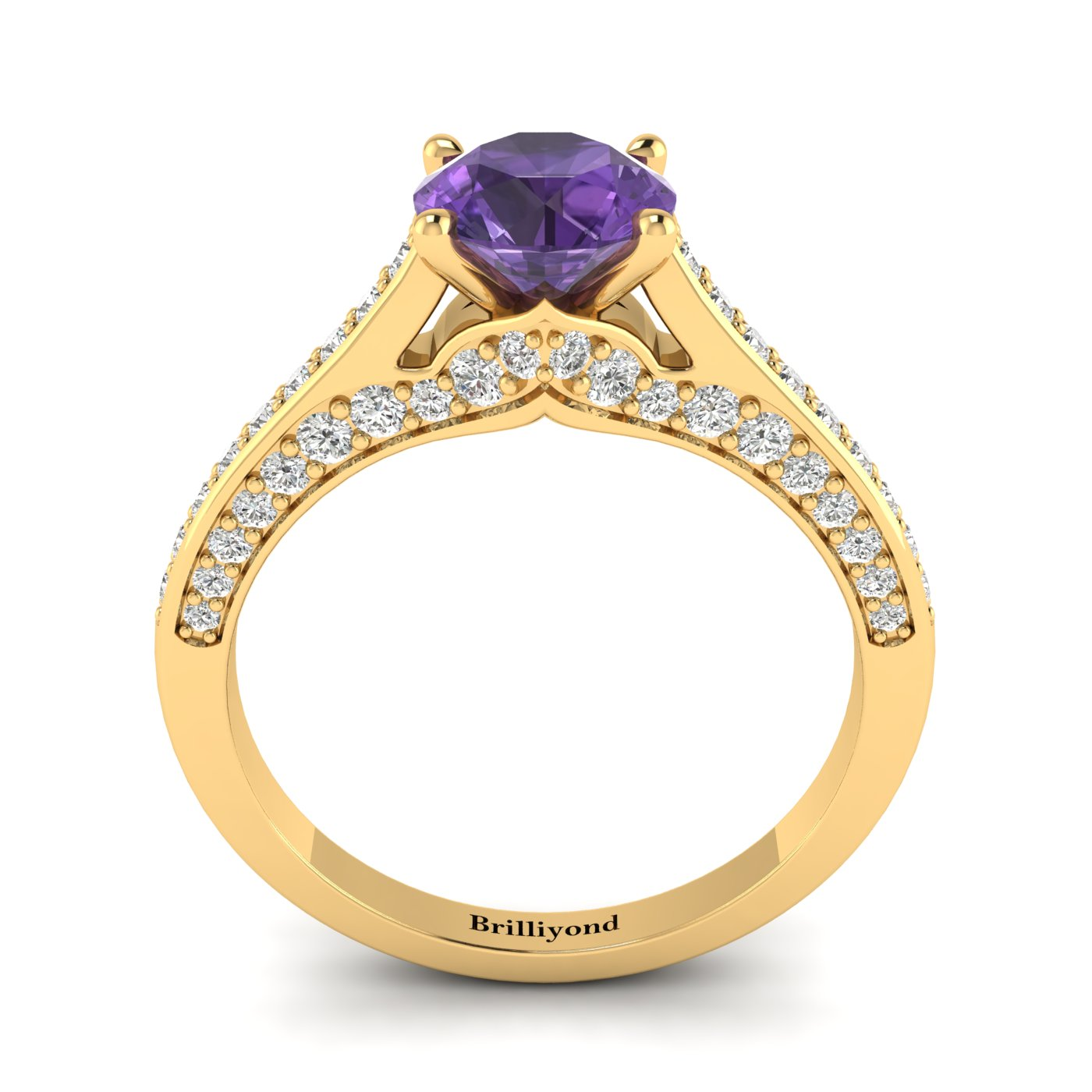 Amethyst Yellow Gold Brilliant Cut Engagement Ring Stargate_image2