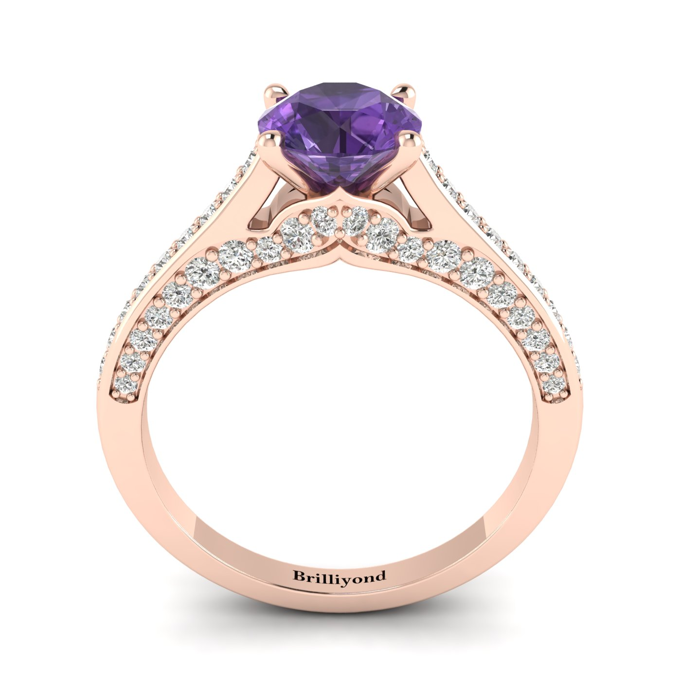 Amethyst Rose Gold Brilliant Cut Engagement Ring Stargate_image1