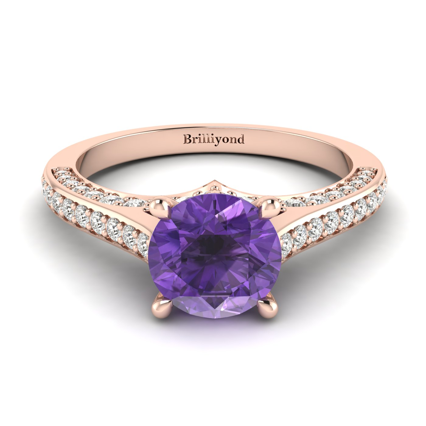 Amethyst Rose Gold Brilliant Cut Engagement Ring Stargate_image2