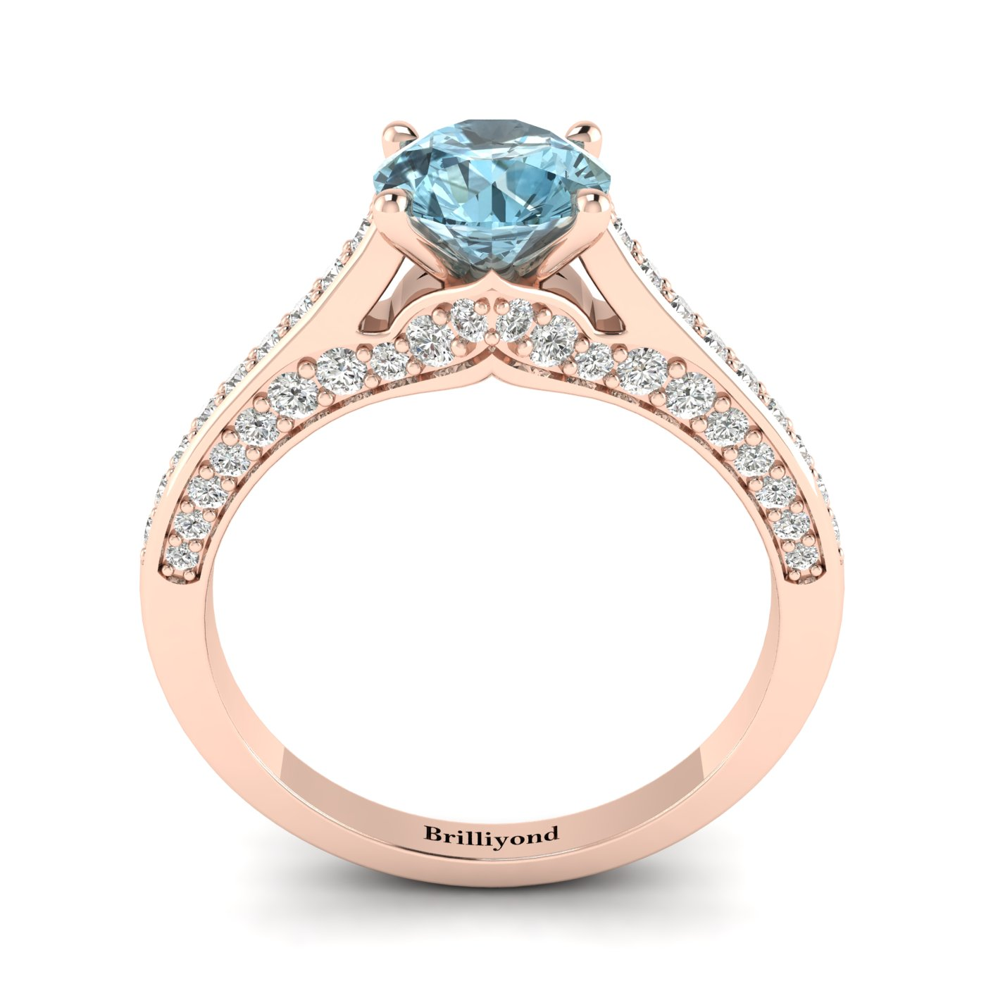 Aquamarine Rose Gold Brilliant Cut Engagement Ring Stargate_image2