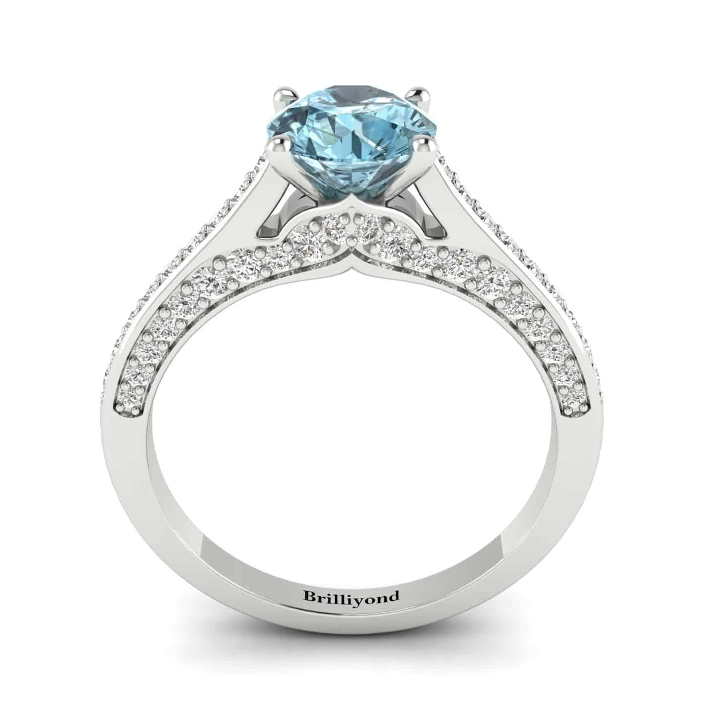 Aquamarine White Gold Brilliant Cut Engagement Ring Stargate_image1