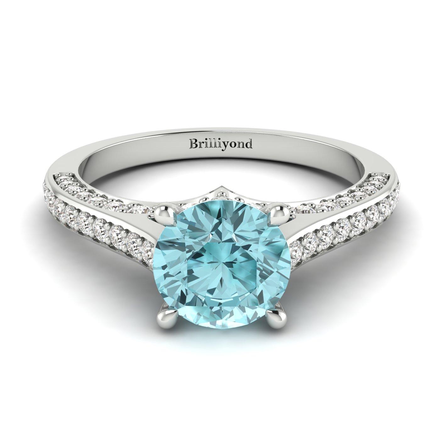 Aquamarine White Gold Brilliant Cut Engagement Ring Stargate_image2