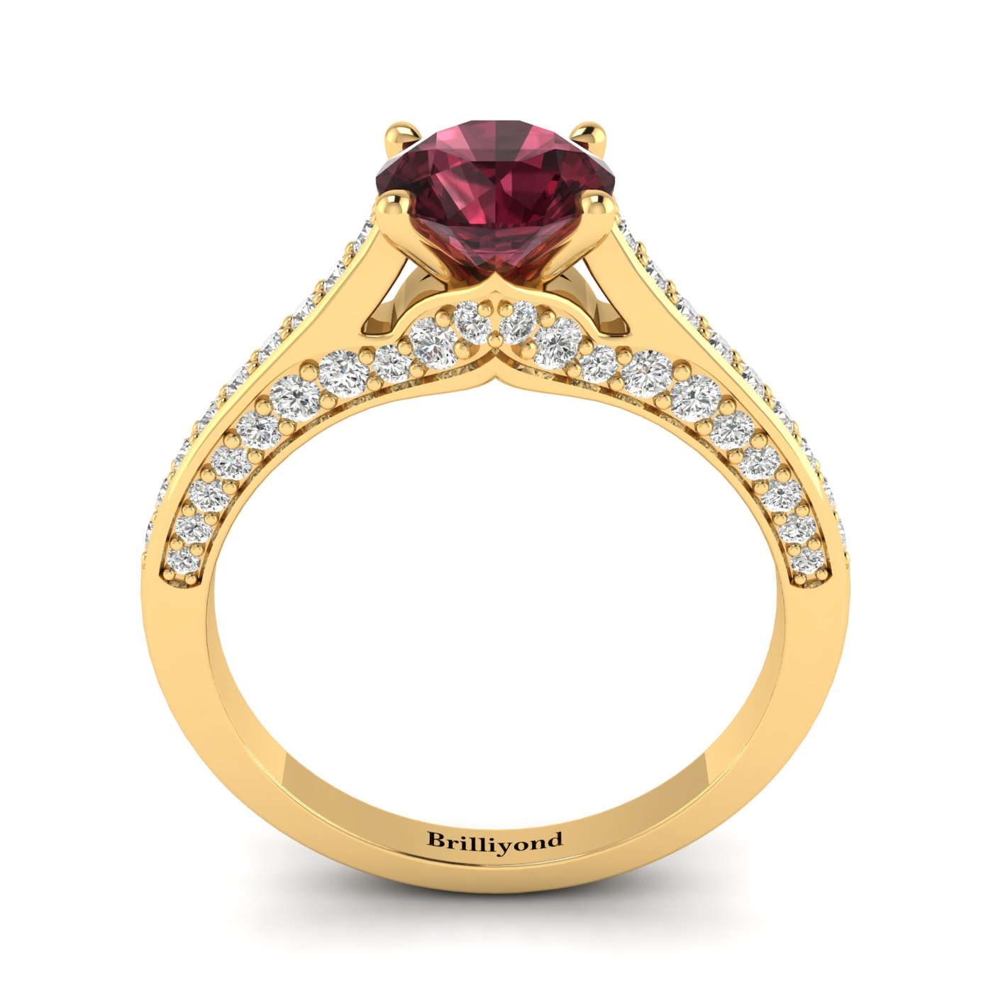 Garnet Yellow Gold Brilliant Cut Engagement Ring Stargate_image2