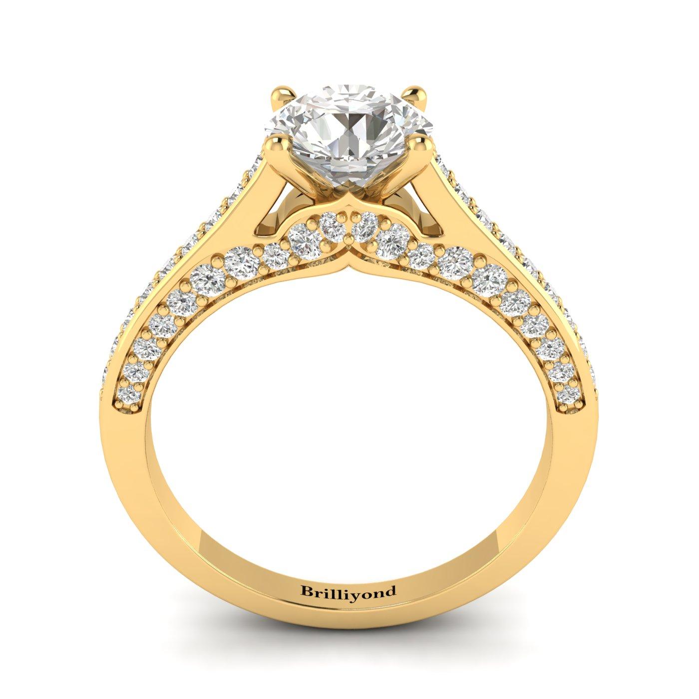 Diamond Yellow Gold Brilliant Cut Engagement Ring Stargate