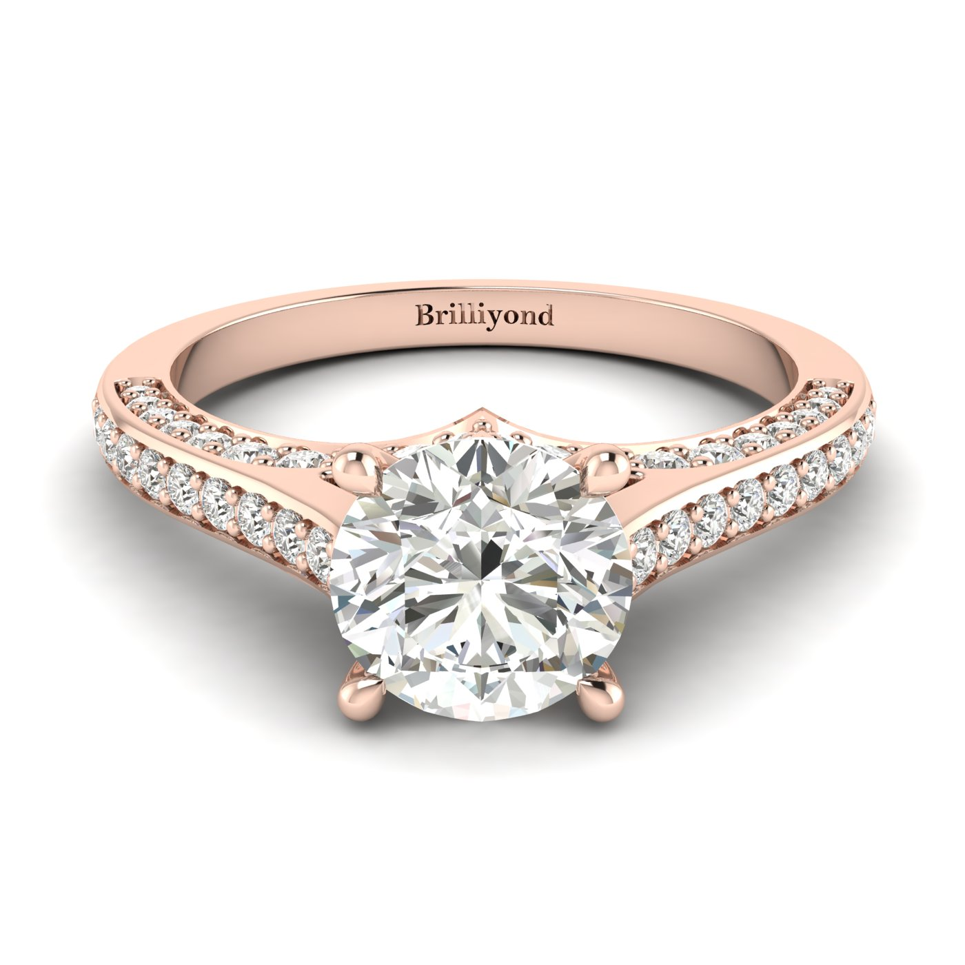 Diamond Rose Gold Brilliant Cut Engagement Ring Stargate_image1