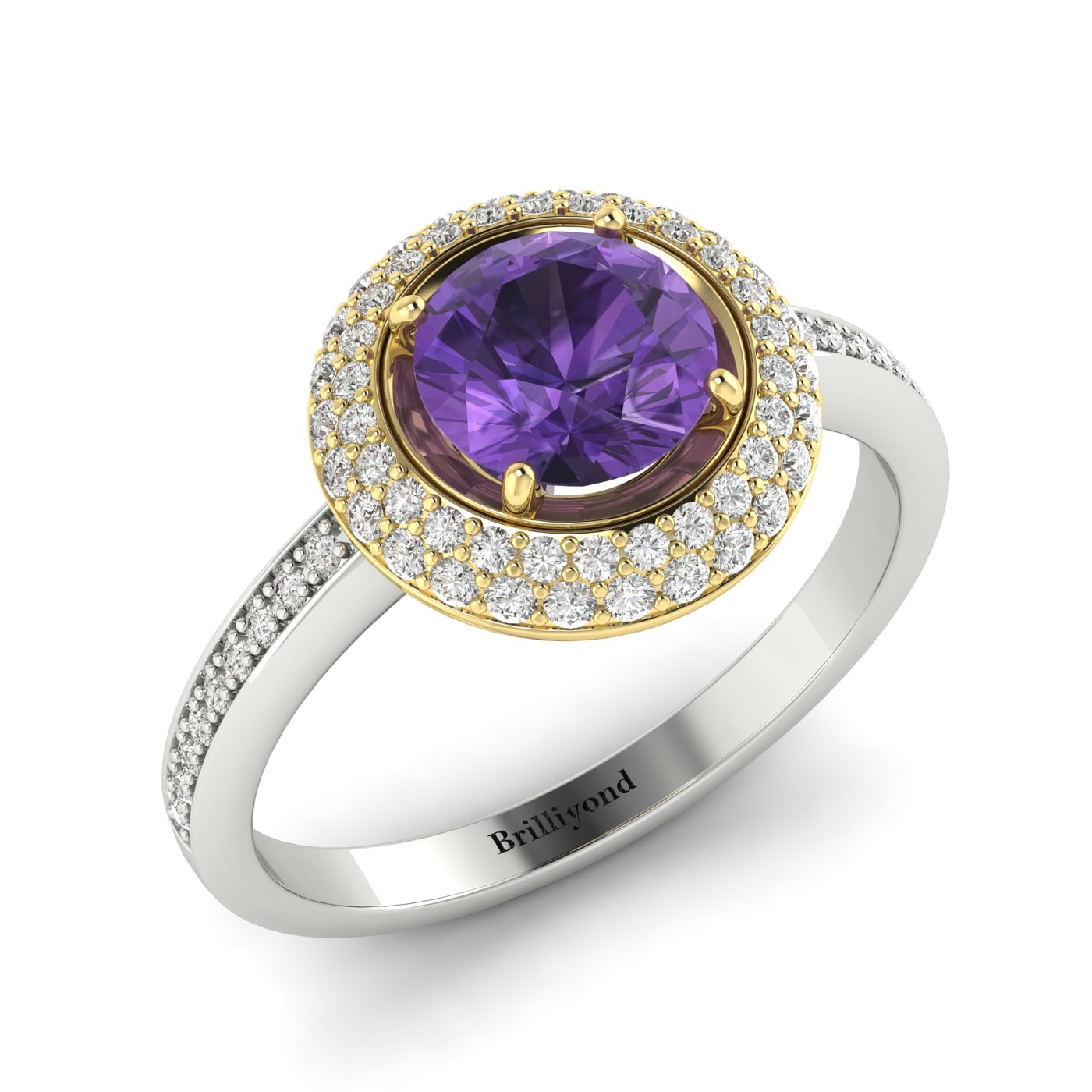 Amethyst White Gold Halo Engagement Ring Aura_image1