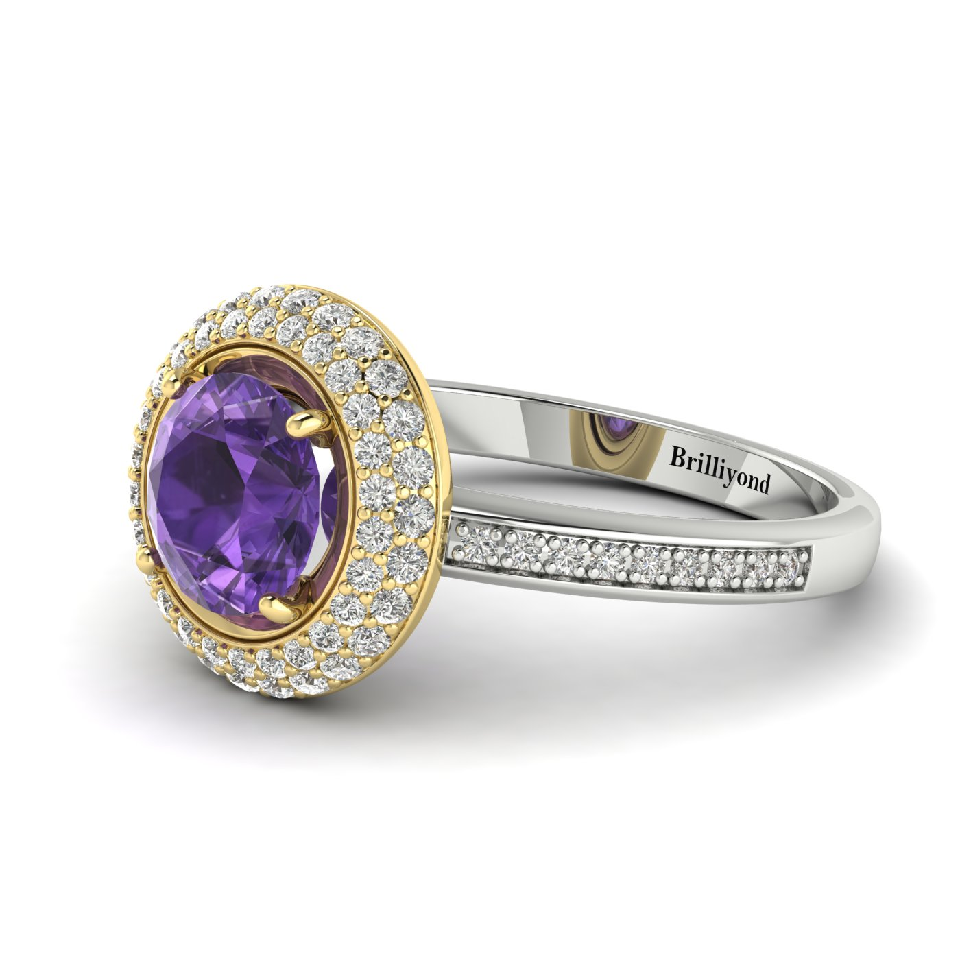 Amethyst White Gold Halo Engagement Ring Aura_image2