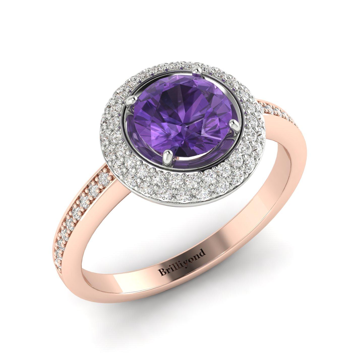 Amethyst Rose Gold Halo Engagement Ring Aura_image2
