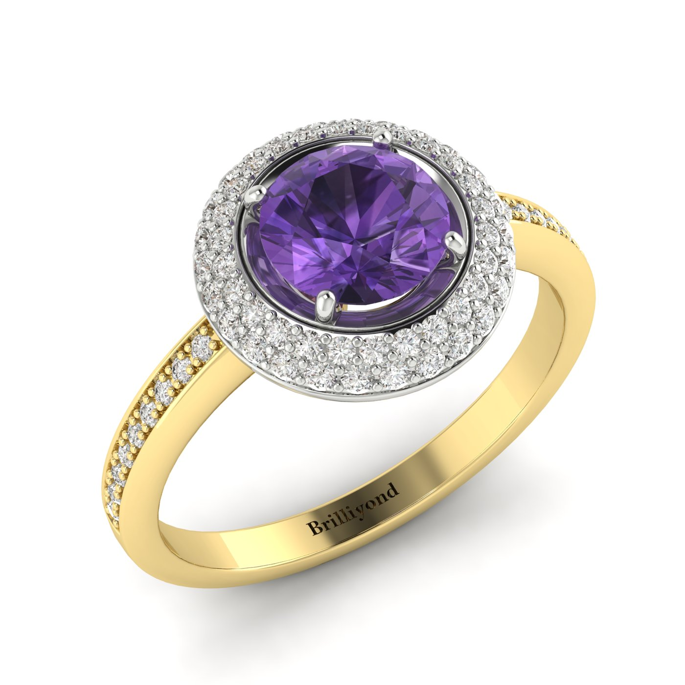 Amethyst Yellow Gold Halo Engagement Ring Aura_image1