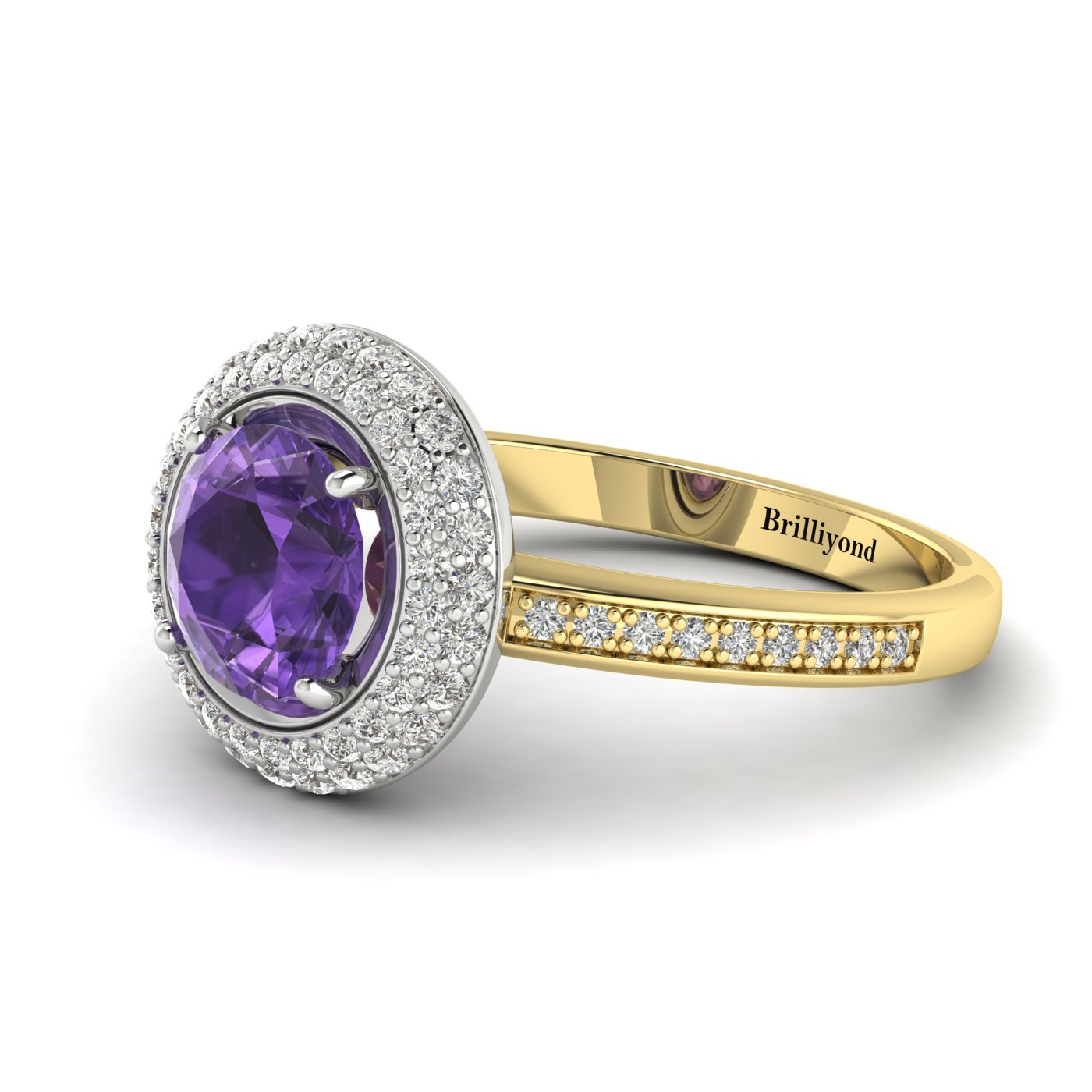 Amethyst Yellow Gold Halo Engagement Ring Aura_image2