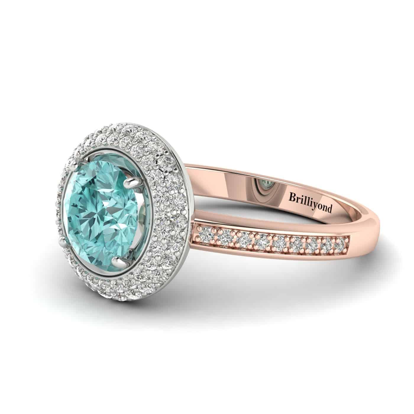Aquamarine Rose Gold Halo Engagement Ring Aura