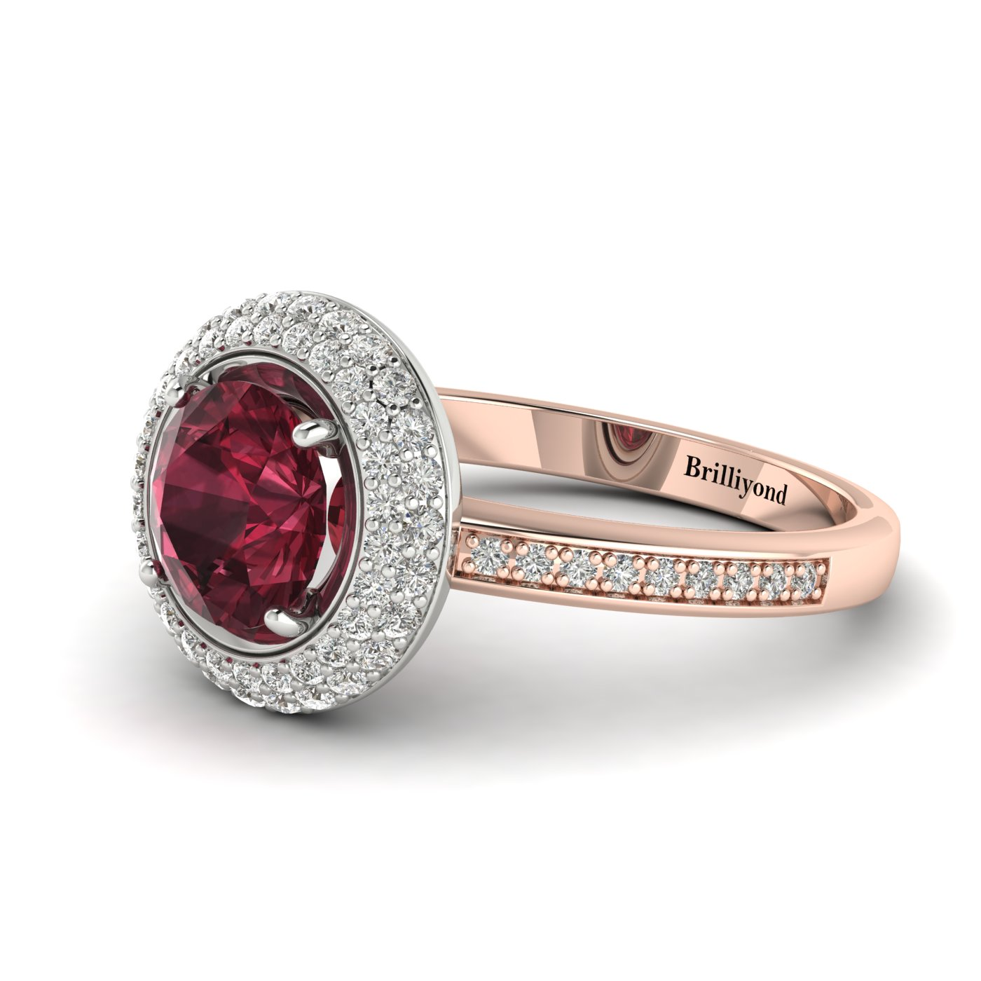 Garnet Ring Rose Gold Halo Aura