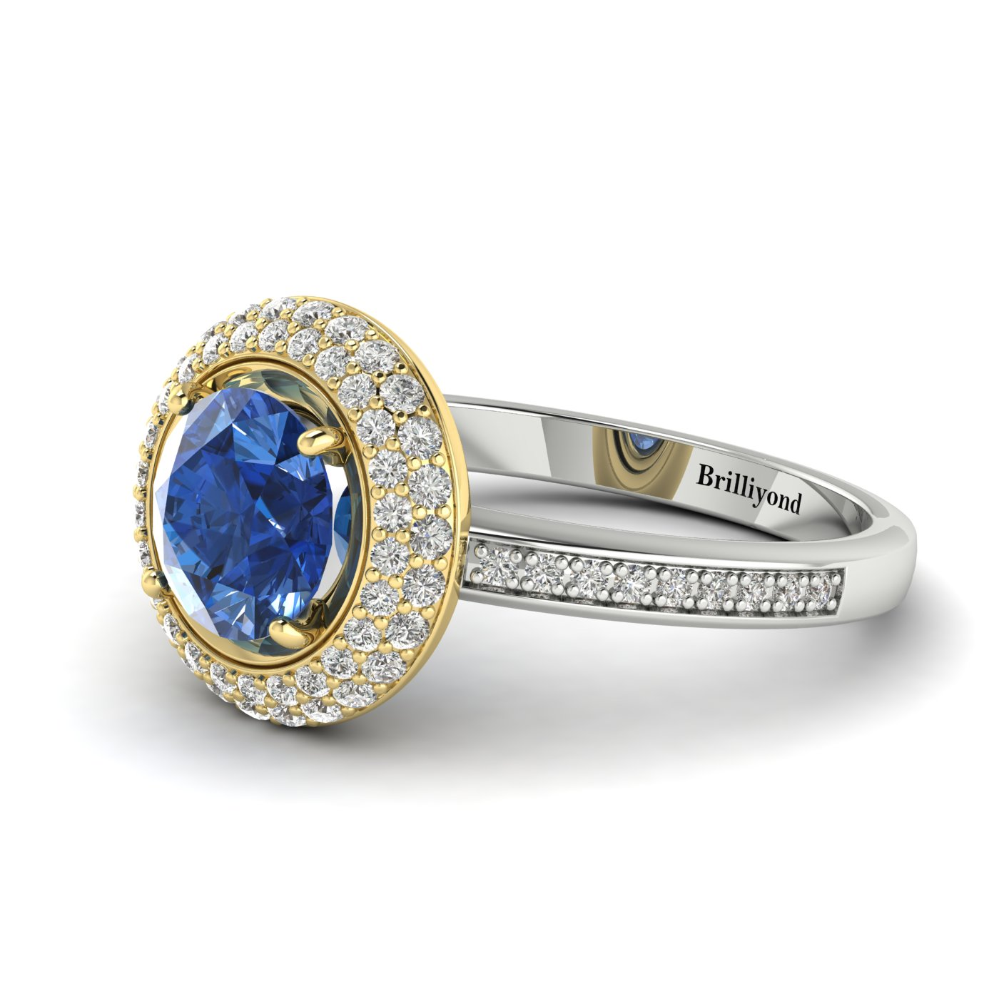 Blue Sapphire White Gold Halo Engagement Ring Aura_image1