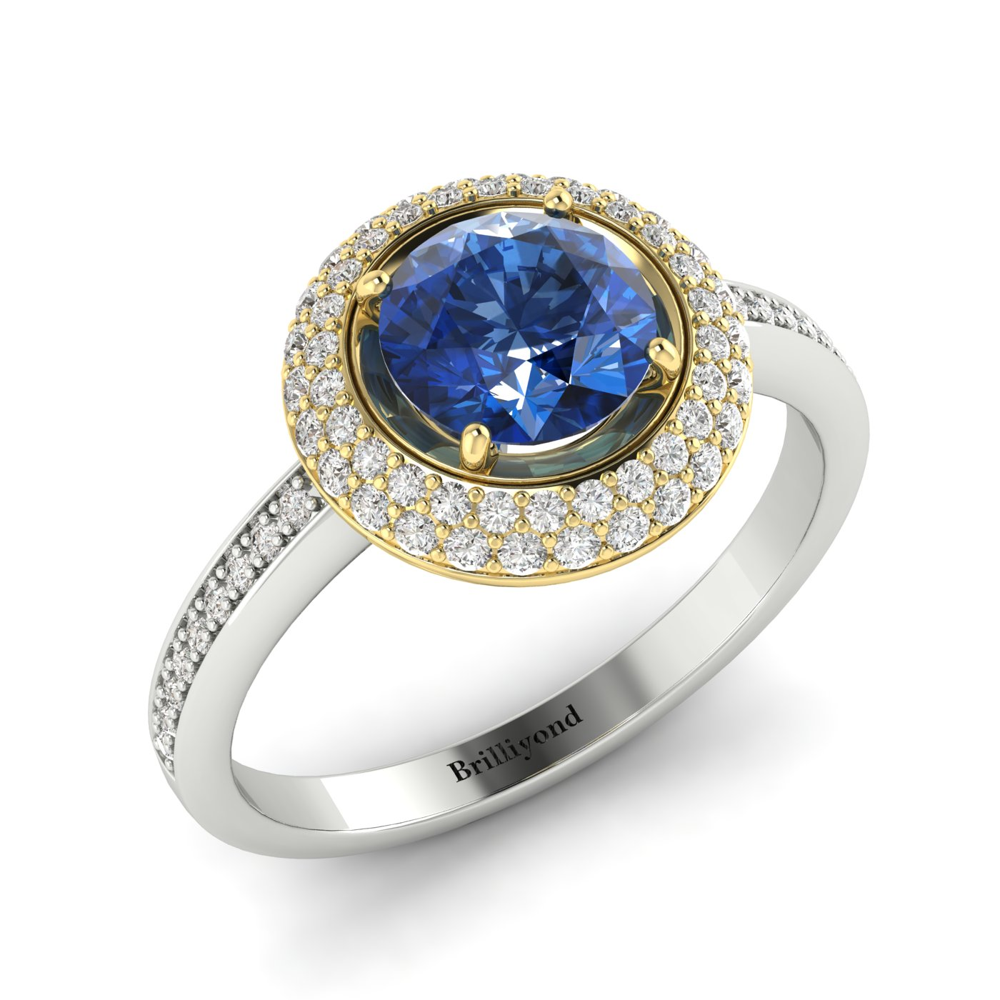 Blue Sapphire White Gold Halo Engagement Ring Aura_image2