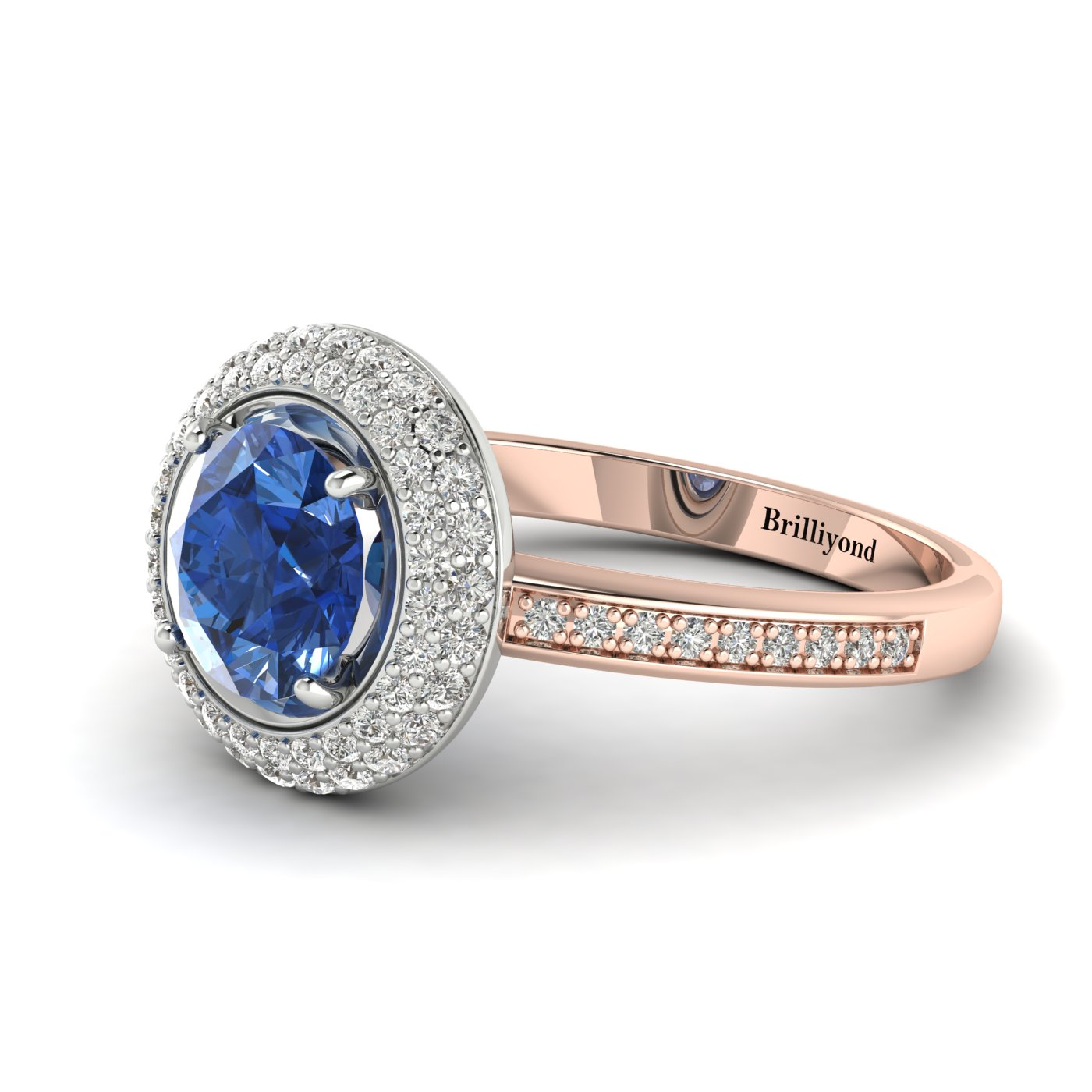 Blue Sapphire Rose Gold Halo Engagement Ring Aura_image2