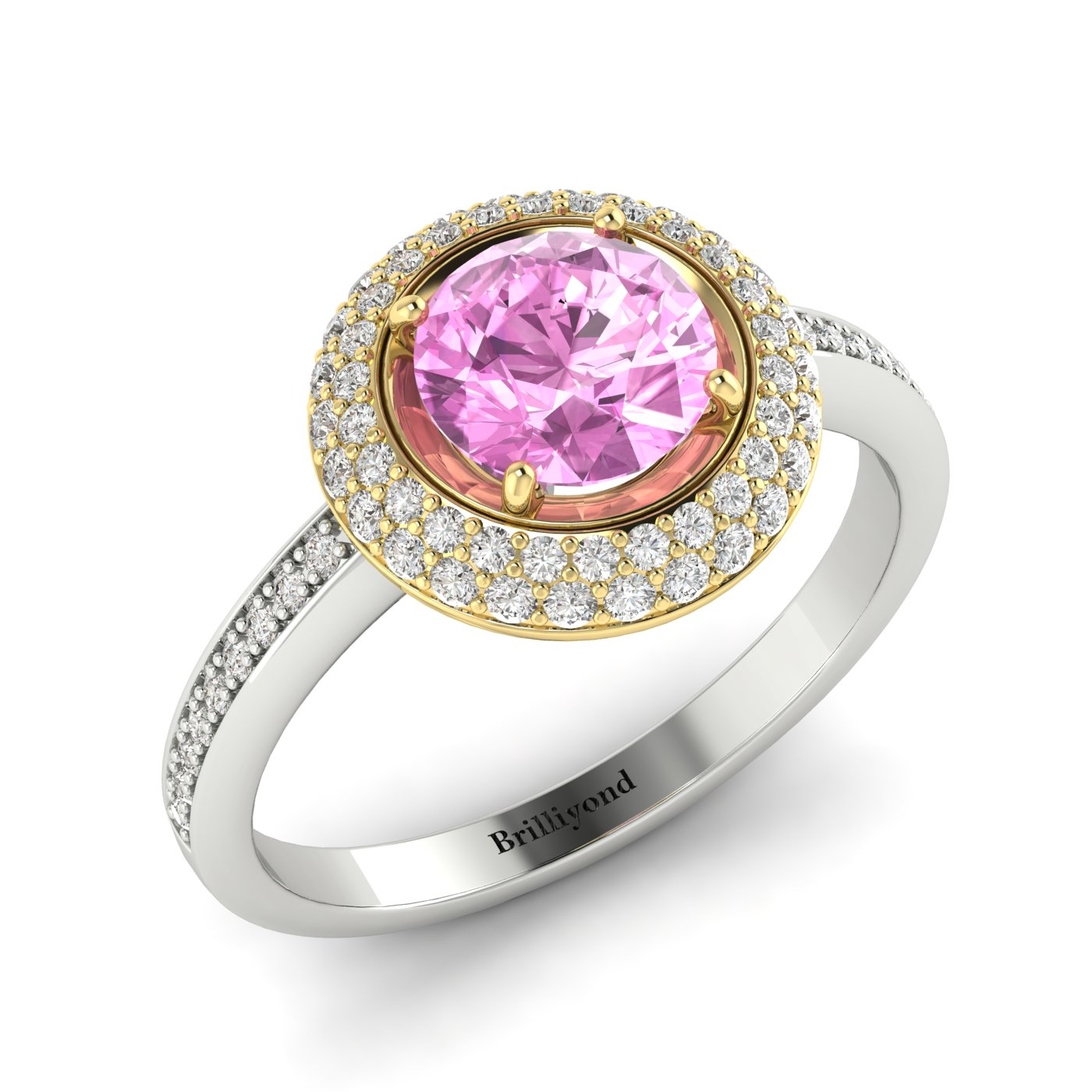 Pink Sapphire White Gold Halo Engagement Ring Aura_image1