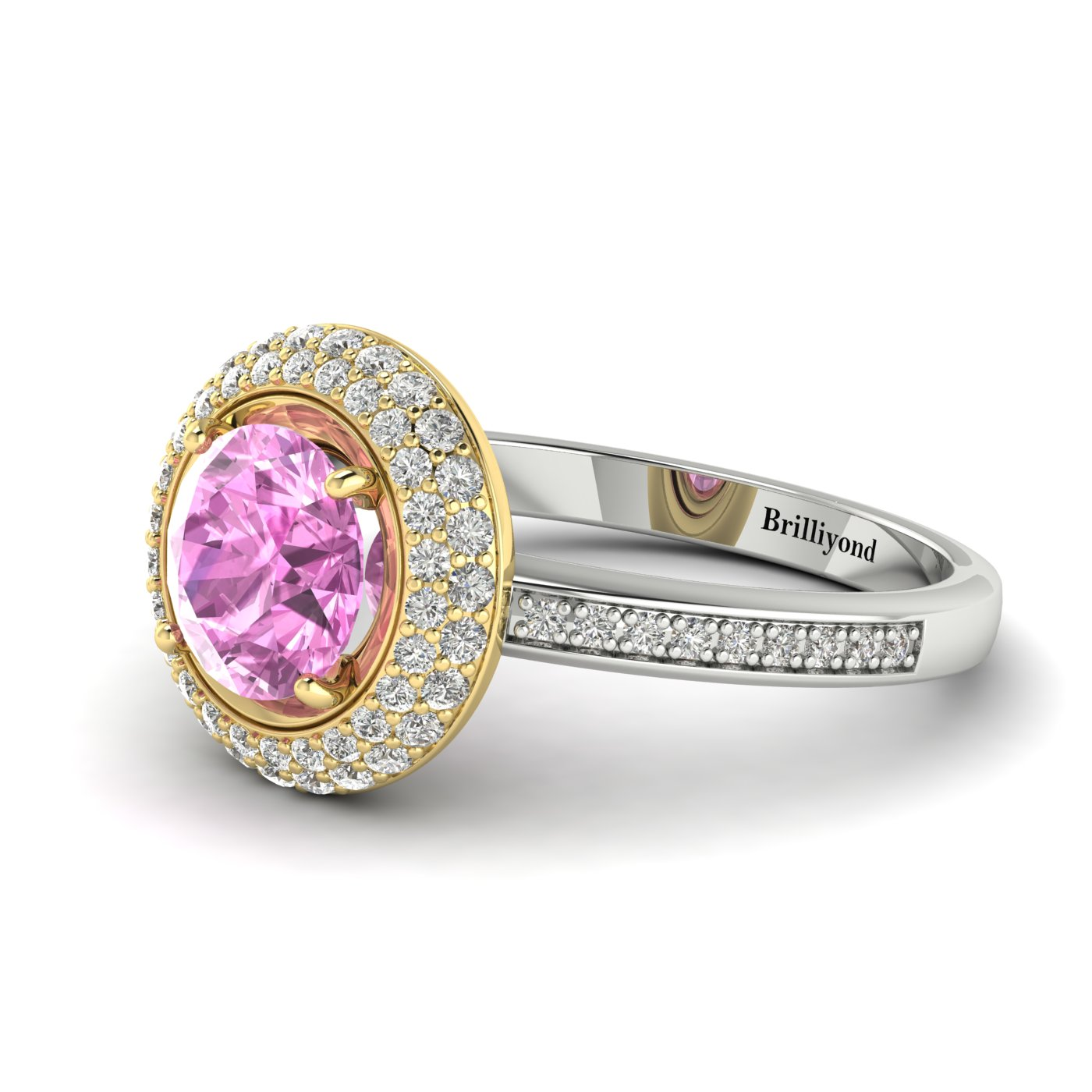 Pink Sapphire White Gold Halo Engagement Ring Aura_image2