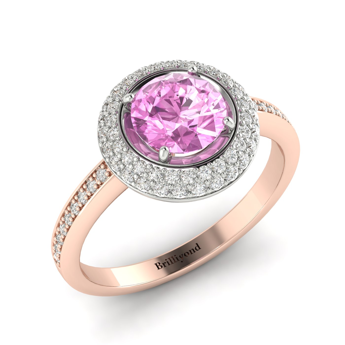 Pink Sapphire Rose Gold Halo Engagement Ring Aura_image2