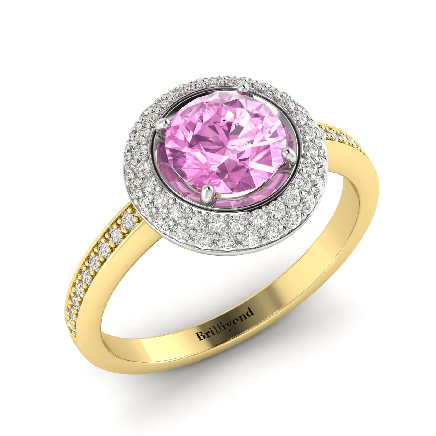 Pink Sapphire Yellow Gold Halo Engagement Ring Aura_image1