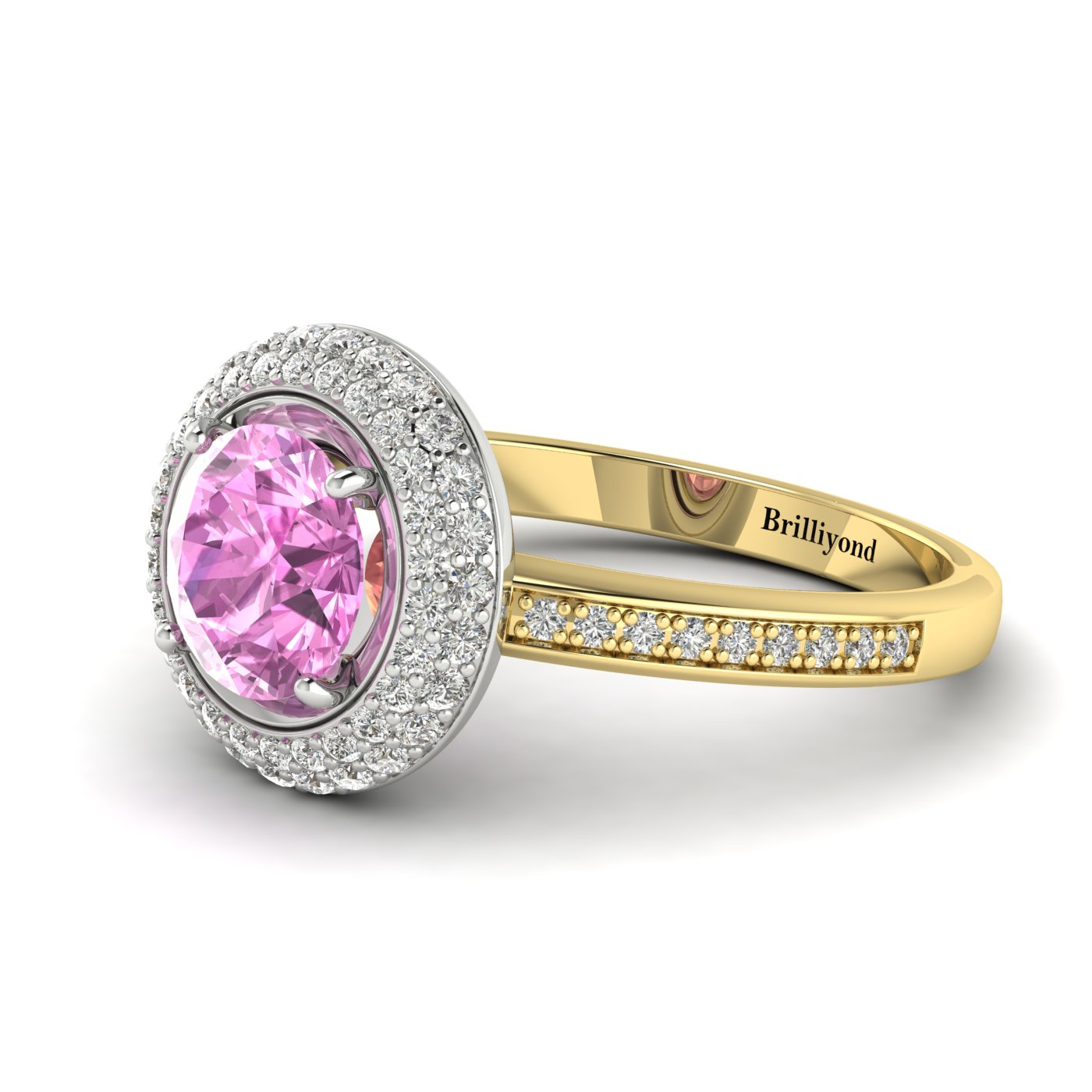 Pink Sapphire Yellow Gold Halo Engagement Ring Aura_image2