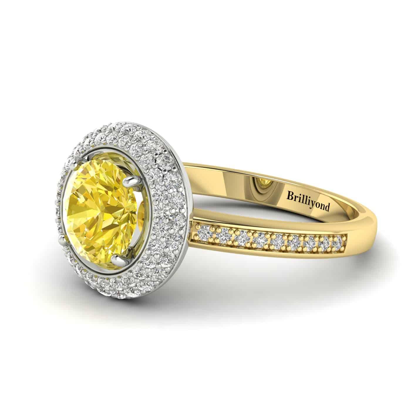 Yellow Sapphire Yellow Gold Halo Engagement Ring Aura_image1