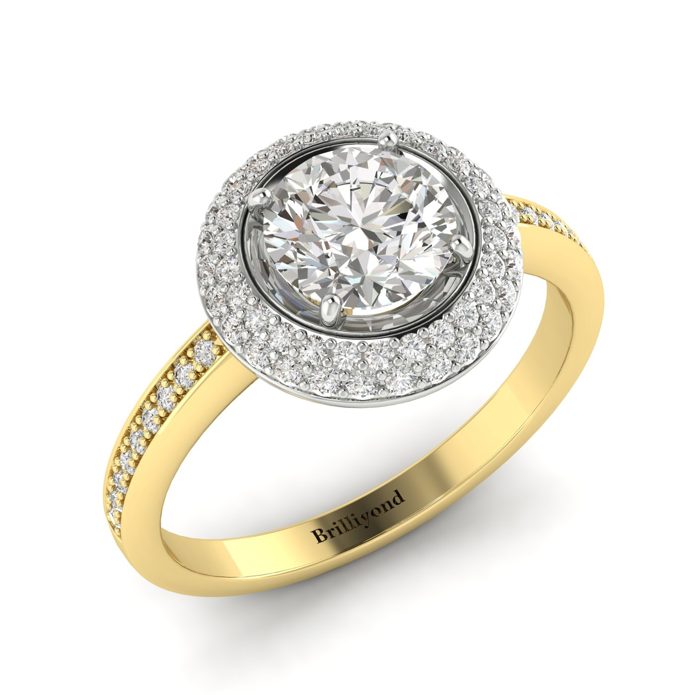 White Sapphire Yellow Gold Halo Engagement Ring Aura_image1
