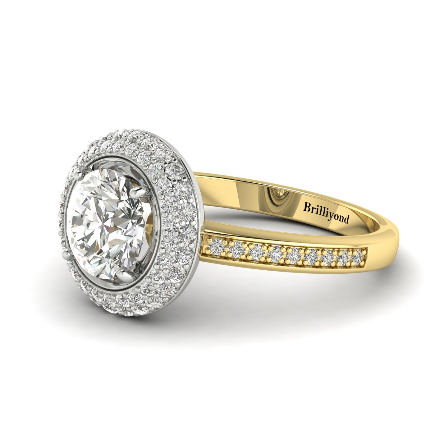 White Sapphire Yellow Gold Halo Engagement Ring Aura_image2