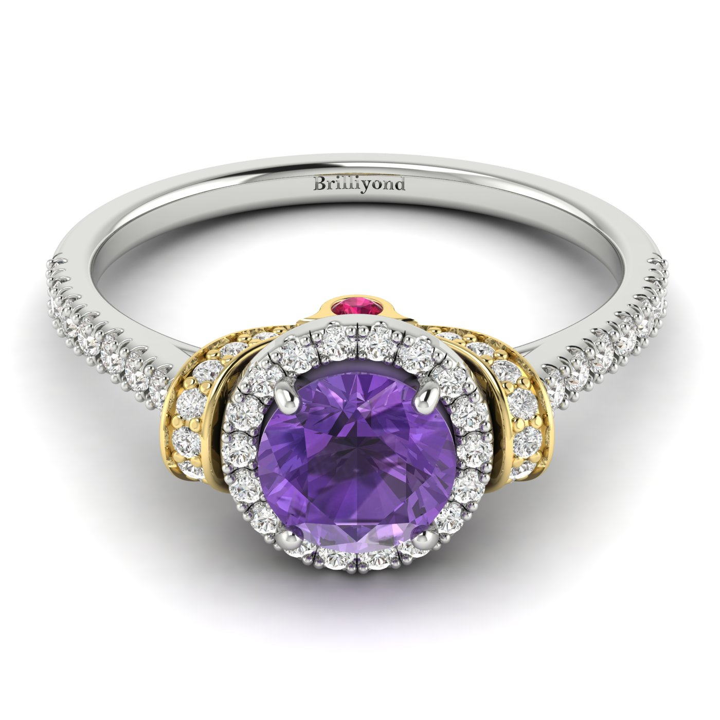 Amethyst White Gold Two Tone Engagement Ring Helen_image2