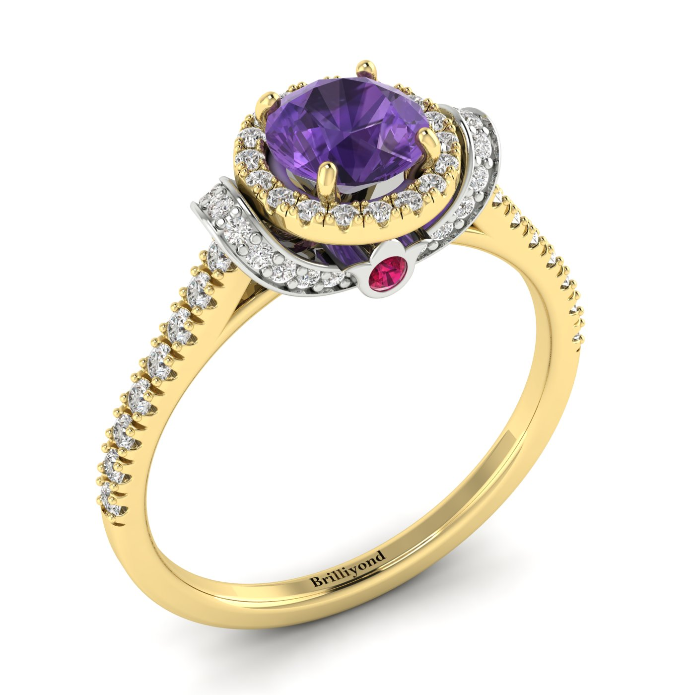 Amethyst Yellow Gold Two Tone Engagement Ring Helen_image1