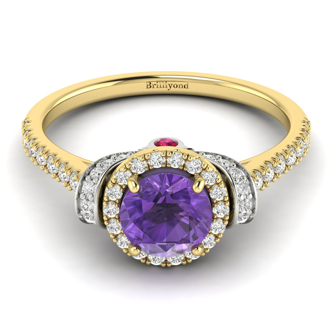 Amethyst Yellow Gold Two Tone Engagement Ring Helen_image2