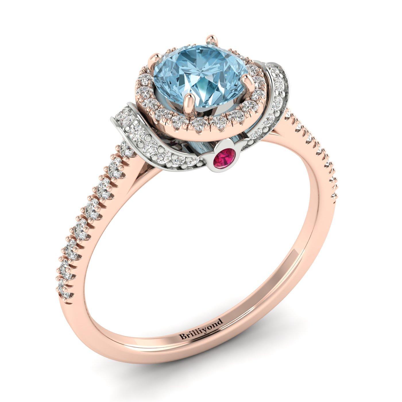 Aquamarine Rose Gold Two Tone Engagement Ring Helen_image1