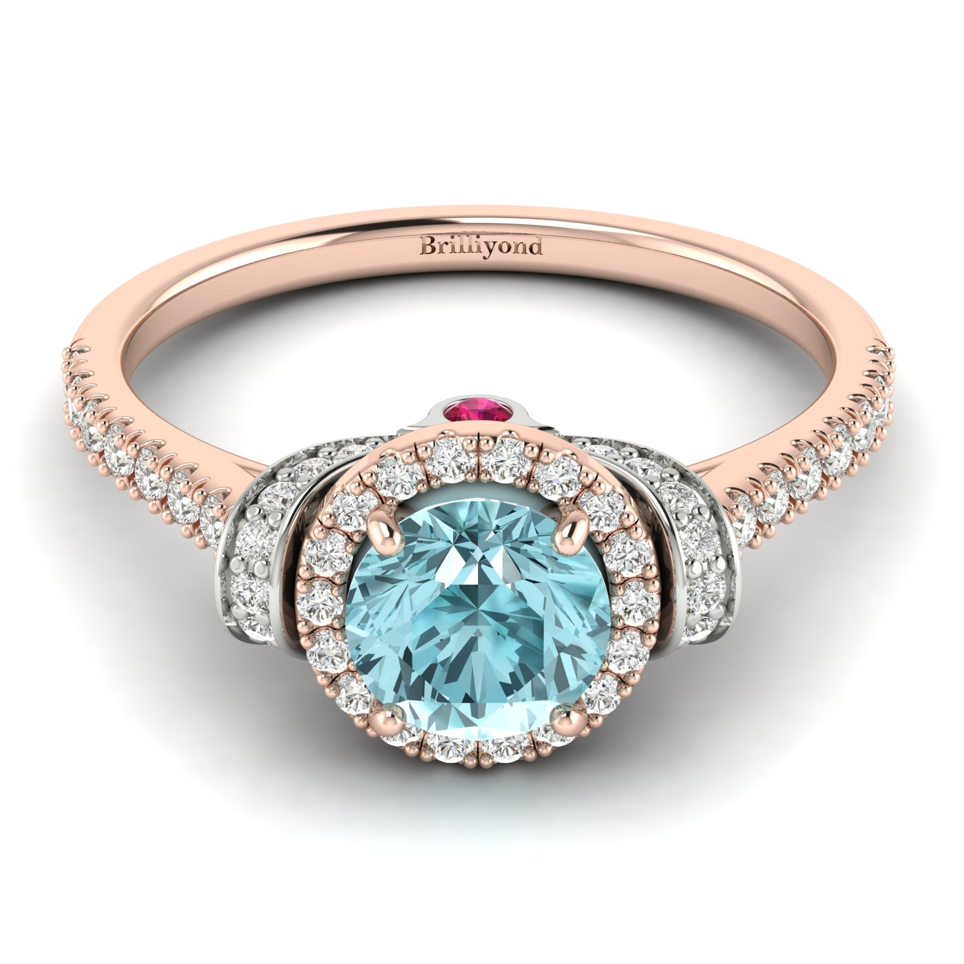 Aquamarine Rose Gold Two Tone Engagement Ring Helen_image2