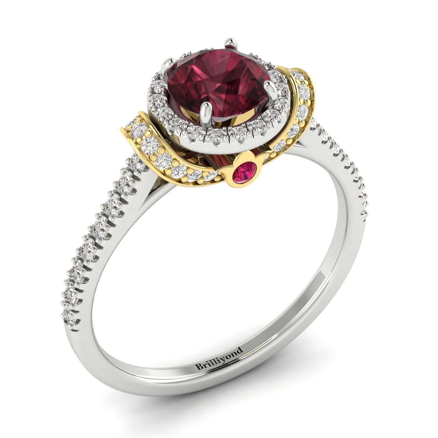 Garnet White Gold Two Tone Engagement Ring Helen_image1