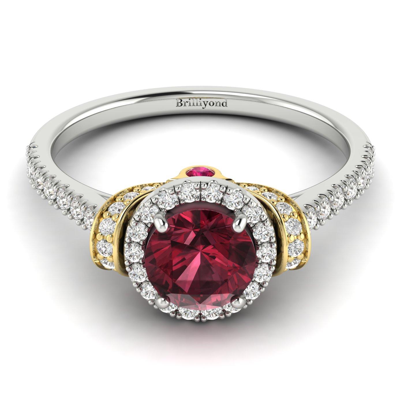 Garnet White Gold Two Tone Engagement Ring Helen_image2