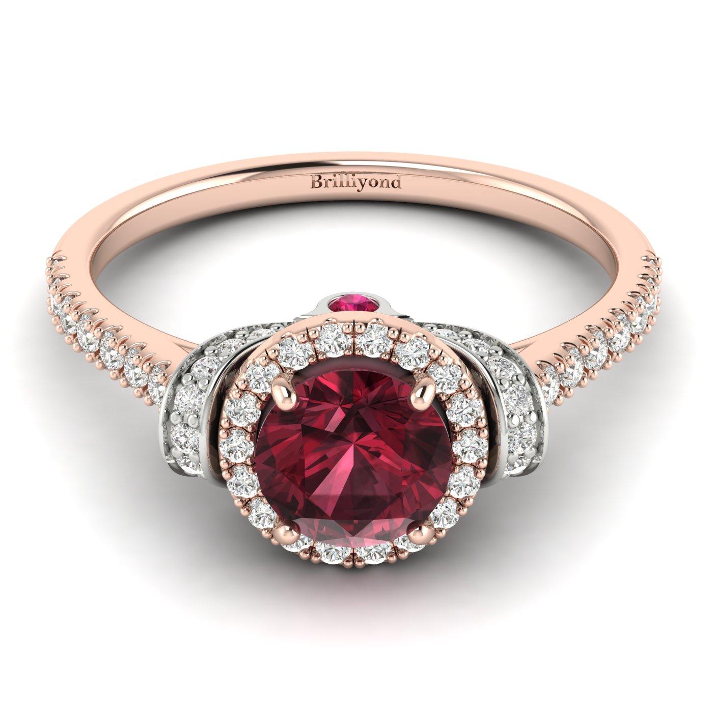 Garnet Ring Rose Gold Two Tone Helen_image1