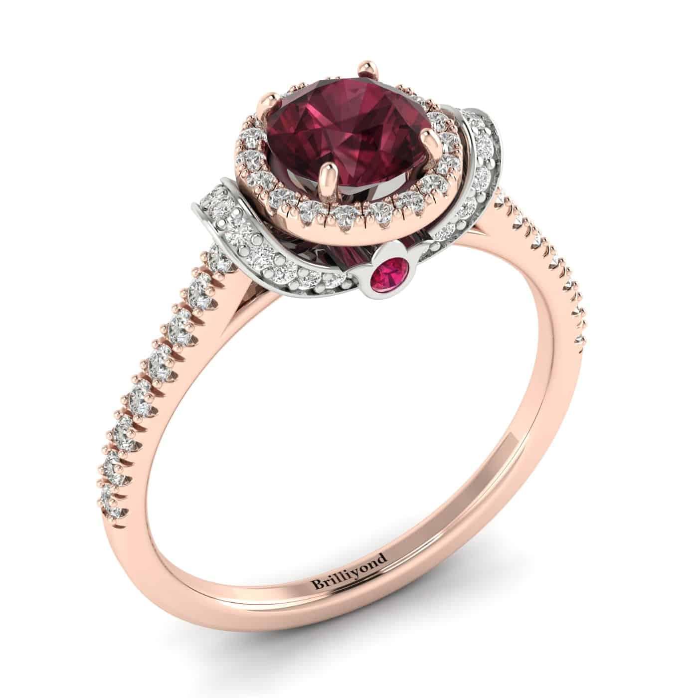 Garnet Ring Rose Gold Two Tone Helen_image2