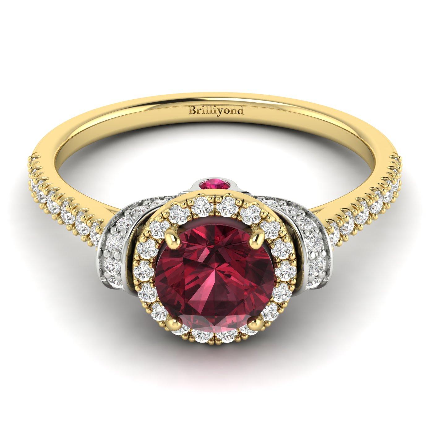 Garnet Ring Yellow Gold Two Tone Helen_image2